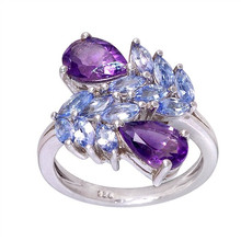African Amethyst, Tanzanite Genuine Ring in 925 Sterling Silver Handmade Ring Jewelry For Women Ring