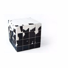 COWHIDE CUBE COVER* WHITE BLACK