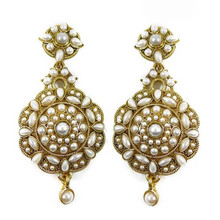 Asian Jewelry Goldtone White Pearl Stone Women Earring Traditional Jewelry -BSE3961