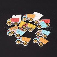 2-Hole Truck Printed Wooden Sewing Buttons, Mixed Color, 25x12x3mm, Hole: 1.5mm BUTT-M011-74