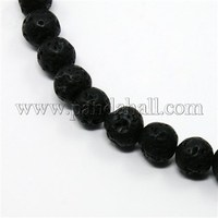 Synthetical Lava Round Bead Strands, 8mm, Hole: 1mm; about 49pcs/strand, 15.5""