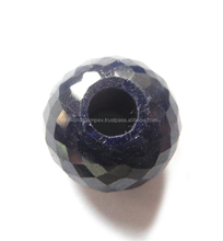Natural Dyed Blue Sapphire Corrundum 14x8mm Roundell Faceted Loose Gemstone With 5mm Hole