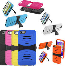 10 Colors Heavy Duty Dual Layer Wave Hybrid Shockproof Armor with Kickstand Case Cover for iPhone 6 USA, Los Angeles Wholesale