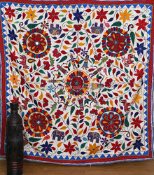 Indian Large Vintage Kutch Tribal Tapestry Rustic Decor Bed Cover Vintage Embroidered Throw Ethnic Banjara Wall Hanging