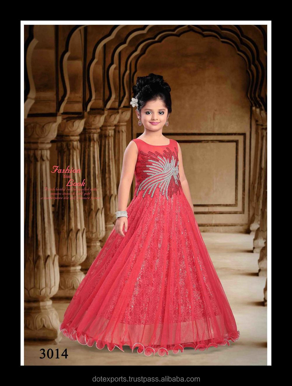 Party Wear Red Frock/gown Designs For Girls - Buy Kids Frocks Neck ...