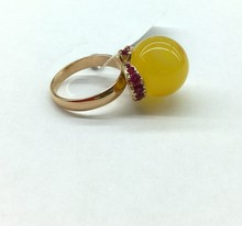 Amber Ring with Brilliants (585 Gold)