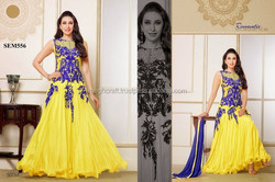BOLLYWOOD FASHION PARTY WEAR GOWN-FANCY PARTY WEAR GOWN-YELLOW AND BLUE FLOOR TOUCH LONG GOWN WHOLESALE