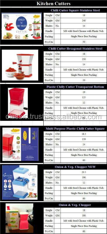 Manual de aço inoxidável cutter chilly exportador de Rajkot, Gujarat, Na Índia
