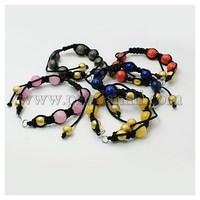 Fashion Shamballa Braided Nylon DIY Bracelet Makings, with Dyed Jade, Brass Stardust Beads, Mixed Color AJEW-JB00003-M