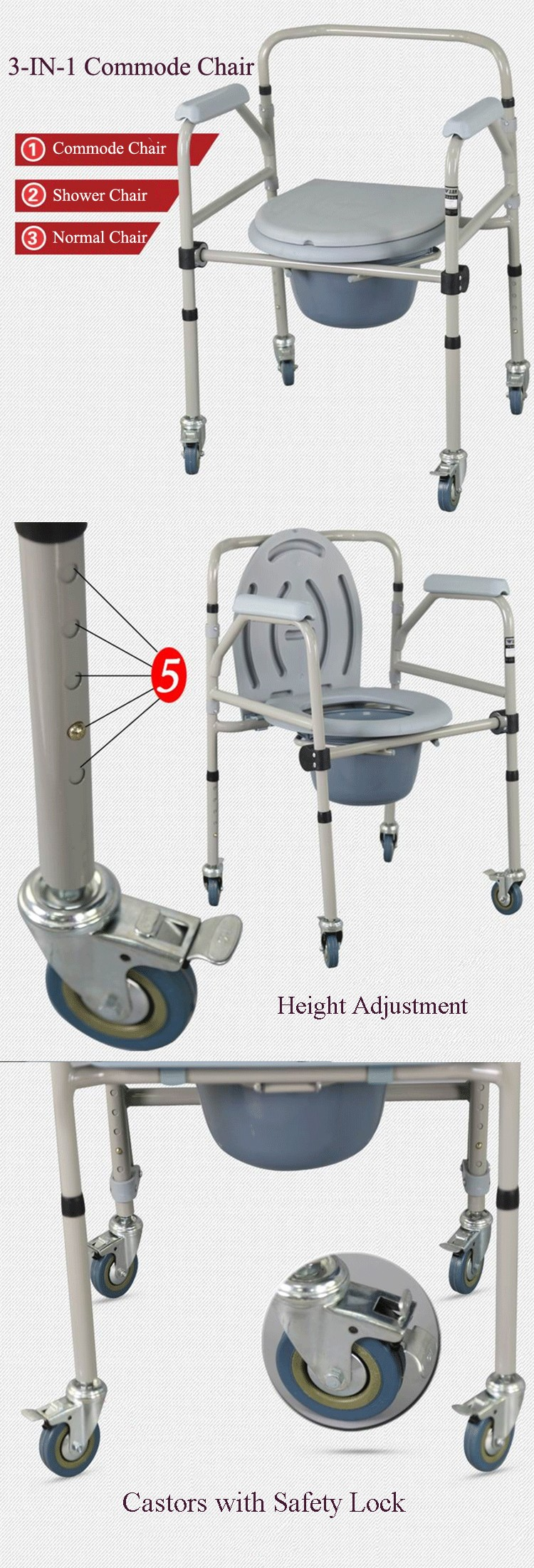 Cheap Price Toilet Chair Steel Shower Chair Folding Commode On ...