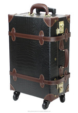 crocodile luggage carry luggage Japan classical design wholesale vintage style PVC leather trolley luggage suitcase on wheels