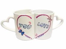 11oz ceramic a pair of heart shape coffee mug with heart shape coffee mug with heart shape