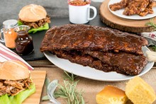 Cooked pork back ribs