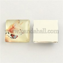 Cat Pattern Glass Square Cabochons, LightGoldenrodYellow, 12x12x4mm GGLA-S022-12mm-26B