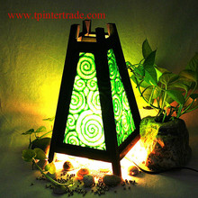 Oriental home decor bedside table lamp wood bamboo furniture Green Saa Paper TBM201