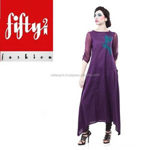 Pruple Frock style Embroidered Kurti for Ladies 2015