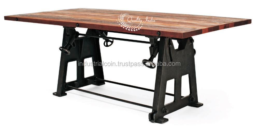 Industrial heavy duty with wooden top square shape dining for Square industrial dining table