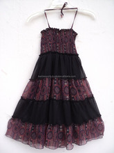 kids wear beautiful halter neck pattern dress for cute girls / 100% chiffon fabric use dress