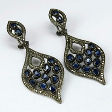 Bring The Heat !! Blue Sapphire & Diamond 925 Sterling Silver Earring, Dangler SIlver Earring, Indian Fashion Silver Jewelry