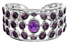 925 sterling silver Amethyst Cuff Bracelet/Designer Inspired Silver Amethyst Cuff Bracelet