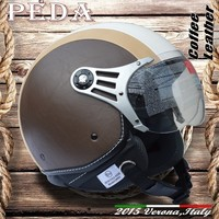 (Coffee Leather) 2015 ECE DOT motorcycle jet urbon helmet CASCOS vintage leather Italian open face (PEDA MOTOR hight quality)