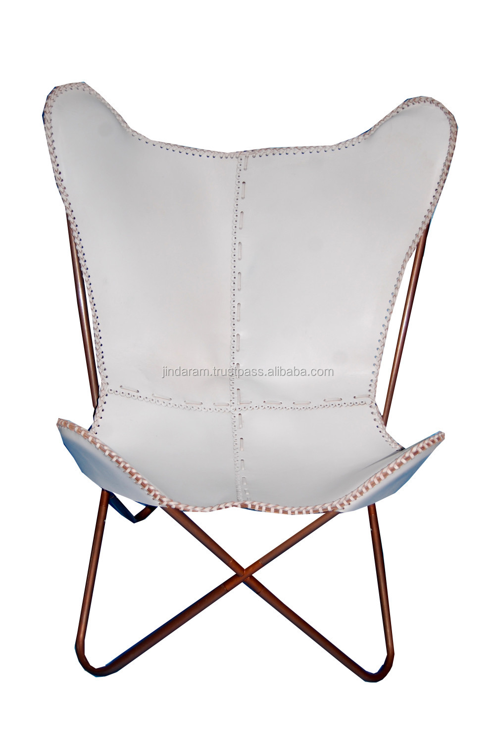 Scandinavian White Leather Butterfly Chair.JPG