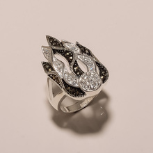 R0087-925 SOLID STERLING SILVER MARCASITE CZ/AD FLAME DESIGN FINE FINGER RING8.9