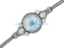 Round And Pear Shape Larimar Sterling Silver Bracelet, Amethyst Joyeria De Plata, Amethyst Jewels, Amethyst Silver Jewels, IRH02