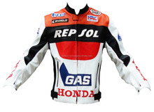 Honda Repsol Armour Motorcycle Biker Protective Premium Quality Cow Grain Leather Jacket