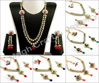 Indian handmade Real Kundan Jewellery-One Gram Gold Plated Kundan Necklace set-Wholesale Indian Traditional Bridal jewelry