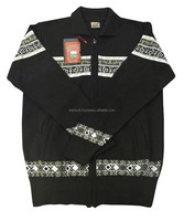 %50 Wool %50 Acrylic -Men's Zipper Cardigan Black Color Direct from Manufacturer
