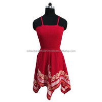 Maroon Rayon Beach Dress Holiday Asymmetrical Women Blouse Smocked Tube Size S D2750