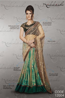 Green tie with lace on navy dupion Fall of Desire Designer Sarees