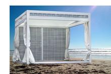 minimal metal frame gazebo outdoor tent WPC footbar side wiker shield modular system rectractable WPC sliding roof waterproof