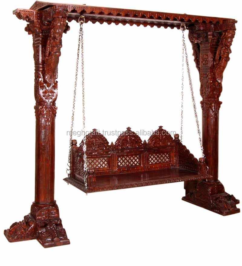 Indian Wooden Decorative Swing Hand Carved Wooden Swing Handmade Traditional Wooden Swing