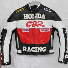 Mens Honda CBR Racing Motorcycle Biker Leather Jacket Safety Padding