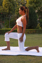 yoga set of tank top and capri bottom in organic cotton