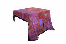One-of-a-Kind Vintage Hand Embroidered Hmong Bed/Table Cover - Purple