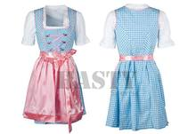 Dirndl set,Blue bavarian check with pink embroidery and apron midi dirndl dress