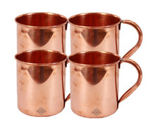 Traditional Handmade Pure Copper Set of 4 Moscow Mug for Use Bar and Resturant
