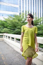A-NGUN Pa Thai, Green Ploywarin Thai Silk Dress. Queen of all fibers are present in the world today.