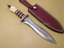 RAARE CUSTOM HAND MADE DAMASCUS FIXED BLADE KNIFE WITH REAL CAMEL BONE