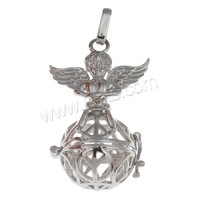 Ball Pendant Brass with brass bell & Rhinestone Clay Pave plated hollow more colors for choice nickel lead & cadmium free 28x44