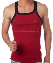 Sleeveless best square style neck with rib Best gym Polyester Singlet