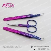 Blue & Pink Paint Splatter Color Tweezers & Scissors/ Private Label Eyelash Extension Tweezers/ Fine Pointed Tweezers