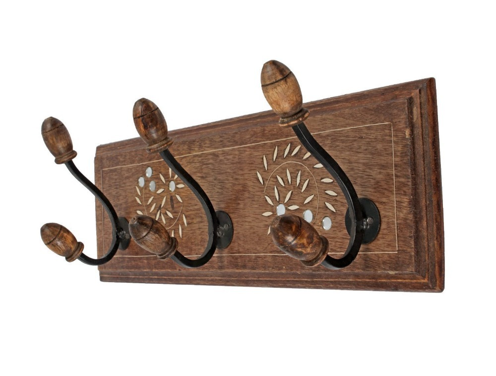 Decorative Wall Hanging Coat Rack : Vintage wall coat hooks hanger quot rack adorned with