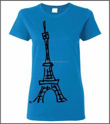 CLT-300141 100% Cotton Custom Made Ladies (Women) Short Sleeves Round Neck T-Shirt