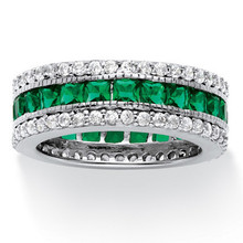 Princess-Cut Simulated Emerald Cocktail Ring in Platinum Over 925 Sterling Silver Ring
