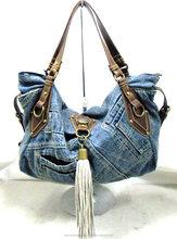 Japanese designer's jeans shoulder denim woman bag with zipper for ladies hot selling in Japan market