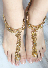 Antique GOLD payal ANKLETS pair feet bracelet toe ring BAREFOOT SANDAL